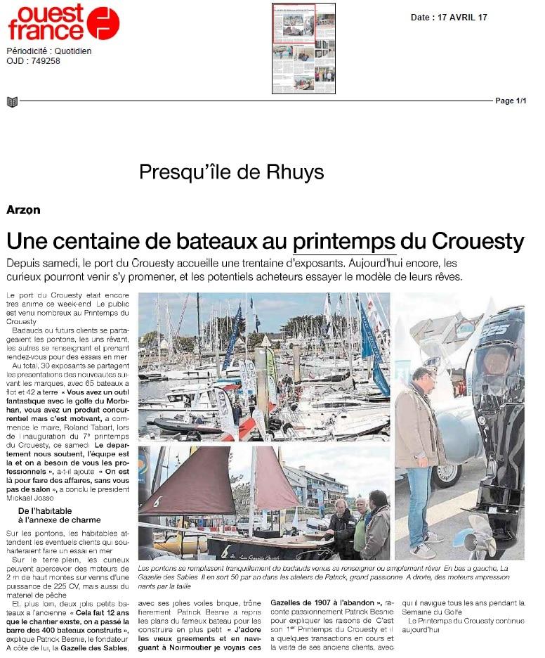 Ouest france met les gazelles des sables l 39 honneur - Salon nautique du crouesty ...